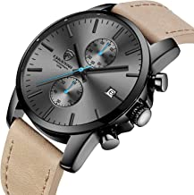 GOLDEN HOUR Men's Fashion Sport Quartz Watches with Leather Strap Waterproof Chronograph Watch, Auto Date in Blue/Red Hands, Color: Black, Brown