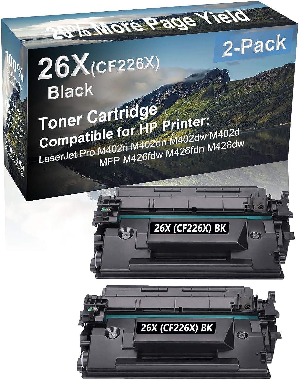 2-Pack Compatible High Capacity MFP M426fdn, MFP M426fdw Printer Toner Cartridge Replacement for HP 26X (CF226X) Printer Cartridge (Black)