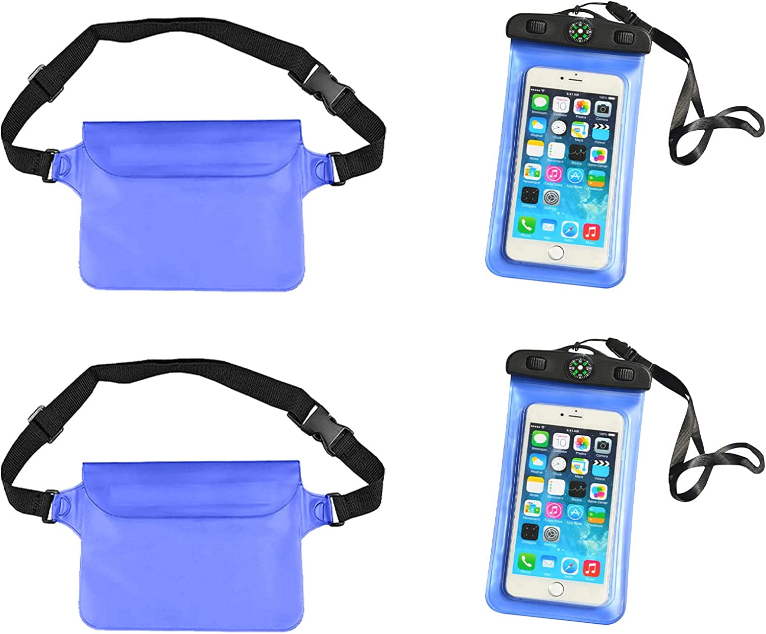 Waterproof Phone Pouch, Universal Waterproof Pouch Cellphone Dry Bag Case, Underwater Cell Phone Dry Bag, Universal Cell Phone Waterproof Case for Beach Kayaking Travel, 2 Pack (Blue)