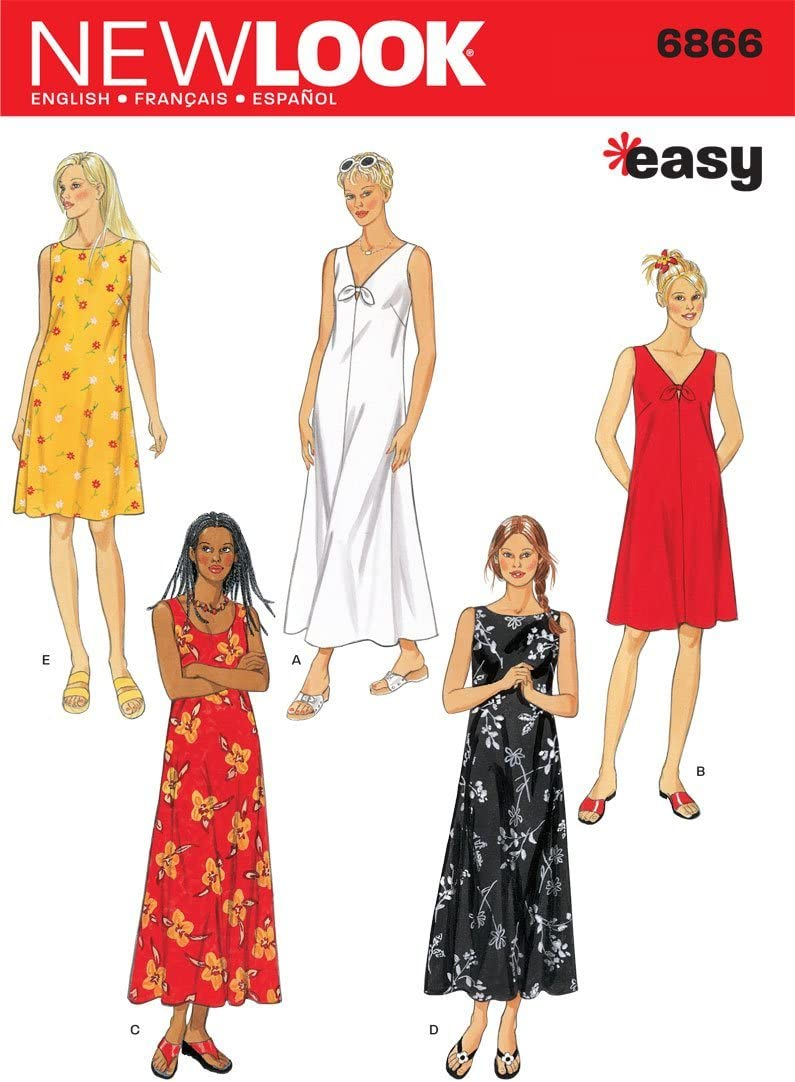 Fashion New Look Columbus Mall Sewing Pattern 6866 A Misses Dresses S-M-L-XL Size