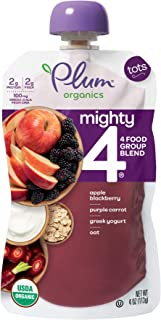 Plum Organics Tots Mighty 4 Toddler Food, Apple, Blackberry, Purple Carrot, Greek Yogurt, Oat and Quinoa, 4 Ounce (Pack of 6)