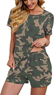 Sponsored Ad - PrinStory Pjs for Women Short Sleeve Pajama Set Summer Sleepwear