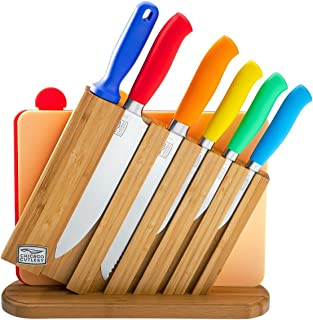 Chicago Cutlery Kinzie 9 Piece Knife Set: Professional Kitchen Knives, Knife Block, Knife Sharpener, Cutting Board and Colorful Handles