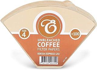 EDESIA ESPRESS - 100 filtres à café coniques en papier - non blanchis - taille 4