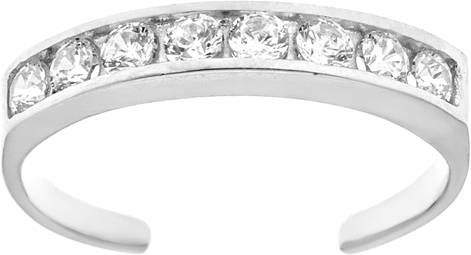 Ritastephens 14k Solid Gold Eternity Band Cubic Zirconia Toe Ring Channel-set Adjustable Body Jewelry (Yellow or White)