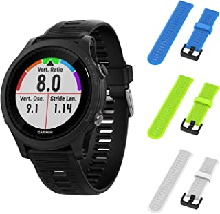 Garmin Forerunner 945 GPS Running Smartwatch with Included Wearable4U 3 Straps Bundle (Sky Blue/Lime/White)