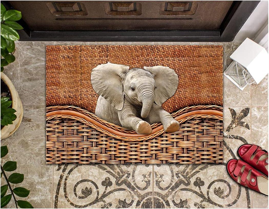 Ultra-Cheap Deals LIFESELAZ Elephant Door Mats Fashion Rattan Doo Teaxture Non-Slip Rubber