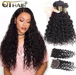 QTHAIR 12A Brazilian Hair Weave Bundles Water Wave with Closure (22