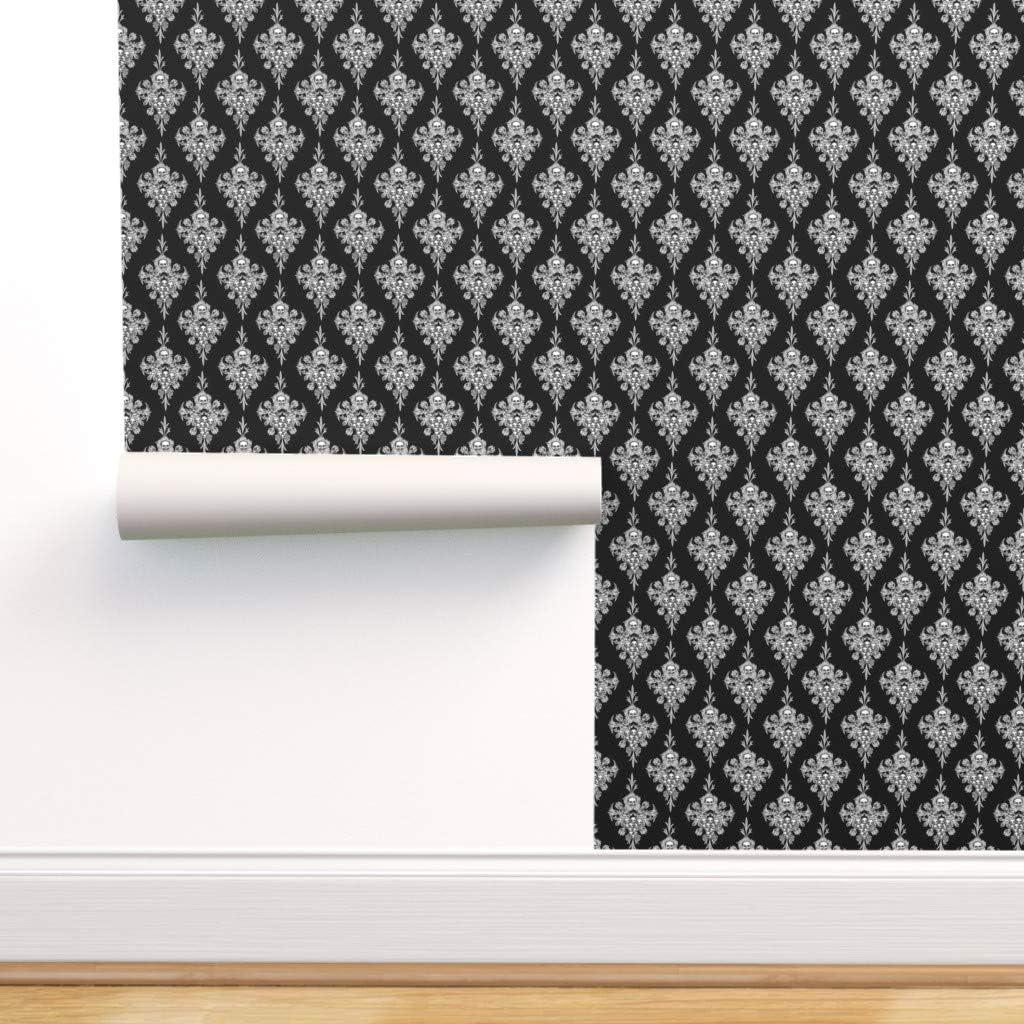 Spoonflower Peel and Stick 定番スタイル Halloween 売却 Removable Black Wallpaper