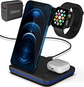 Complete 3 in 1 Wireless Phone Charging Station, Qi Fast Apple Charging Station Compatible with Samsung Phones, Headphones and Smartwatches/Bundled with QC3.0 2 Port Adapter