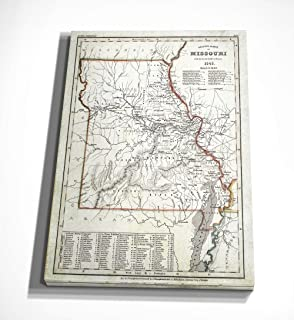 WEXFORD HOME Antique Map Missouri I Gallery Wrapped Canvas Wall Art, 24x32,
