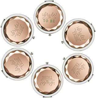 Pack of 6 Compact Pocket Makeup Mirrors - 1 Bride To Be and 5 Bride Tribe Makeup Mirrors and 6 Beautiful Bags for Bachelorette Party Bridal Shower Wedding Party Bridesmaid (Champagne)