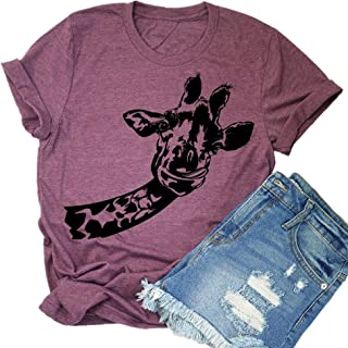 8974bf93d6 Beopjesk Womens Fun Animal Graphic Tees Casual Short Sleeve Summer Cute T-Shirts  Tops