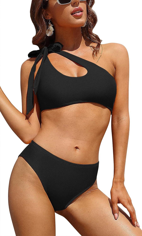 Charmo Women's Bikini Swimsuits One Shoulder Bathing Suits Two Piece Mid Rise Bikini High Leg Swimsuit