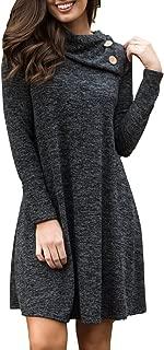 Women's Buttoned Turtleneck Slub Long Sleeve Basic Short Dress