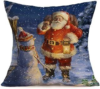 Fundas Cojines de Navidad, Patrón de Papá Noel Funda de Cojines 45x45 Navidad Decoracion para Hogar Casa Sofa Jardin Cama
