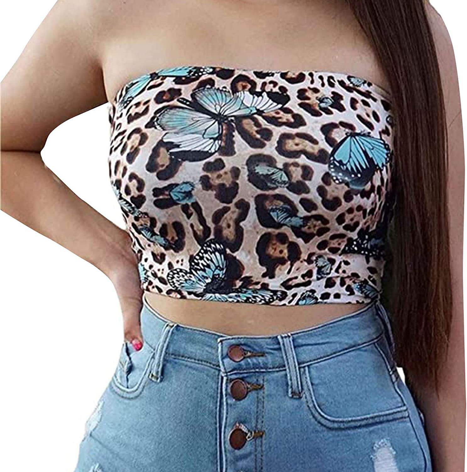 Tanks Tops for Women Classic Sexy Leopard Butterfly Print Tube Top Sleeveless Tube Party Cami Vest Blouse