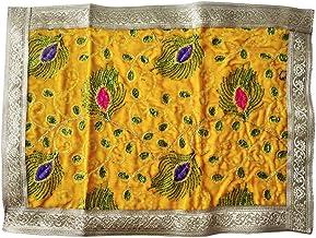 Shoppersduniya Multipurpose Yellow Velvet Pooja Mat Aasan Cloth for Ganesha, Krishna, Durga, Laxmi, Navratri, Diwali Puja...