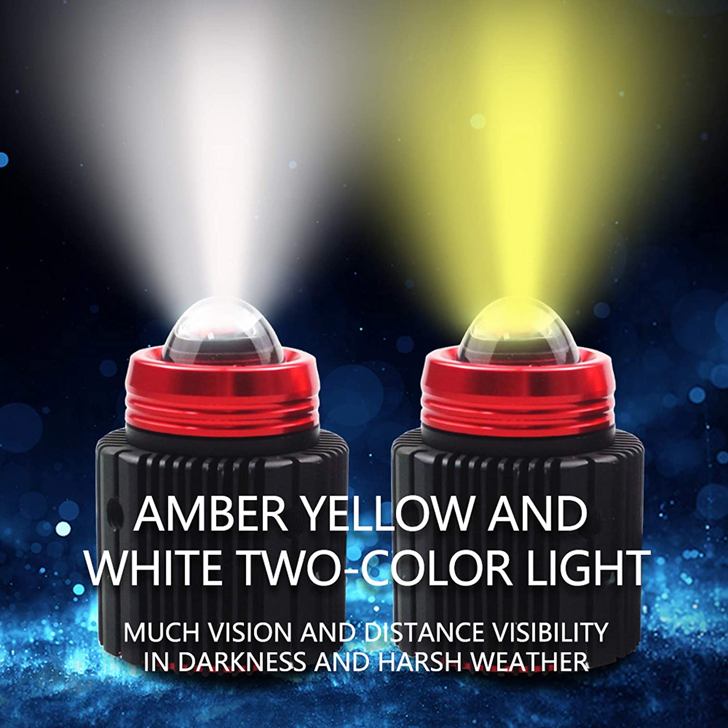 15W 3000 Lumens Super Bright LED Headlights Conversion Kit Dual Color 6500K White 3800K Yellow IP68 Waterproof for Automobile 2 Pack LED Headlight Bulbs