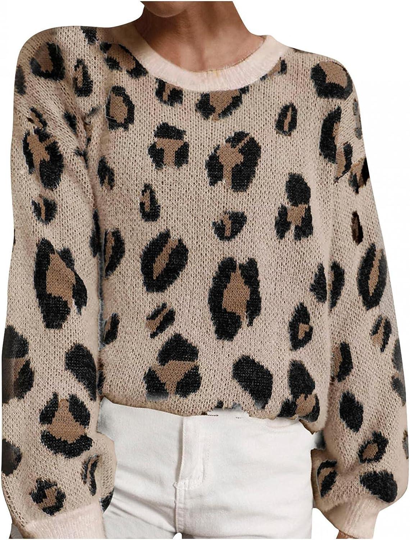 KIMOH Women's Knit Sweater Long Sleeve Leopard Pullover Crewneck Oversized Sherpa Knitwear Jumper