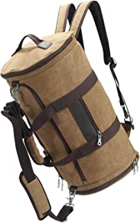 Duffle Bags for Men, Carry On Canvas Travel Gym Duffle Bag with Shoe Compartment, Multifunction Casual Duffle Bag Backpack Weekender Bag Brown