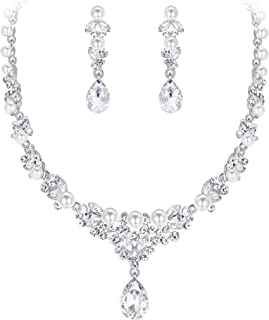 Women's Crystal Simulated Pearl Elegant Bridal Banquet Waterdrop Necklace Earrings Set