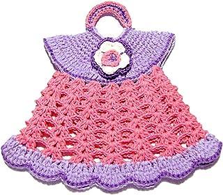 Agarradera rosa y lila en forma de vestido de ganchillo - Tamaño: 18 cm x 16.5 cm H - Handmade - ITALY