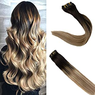 Easyouth 22inch Full Head Seamless Clip on Hair Balayage Color 1B Off Black Fading to 8 Highlights with 22 Blonde Ombre Color Remy Human Hair PU Clip in Hair