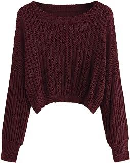 Romwe Women's Criss Cross Crew Neck Solid Long Sleeve Knit Pullover Sweaters