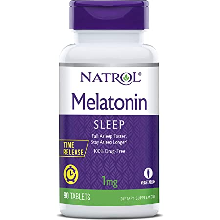 Natrol Melatonin Time Release Tablets, Helps You Fall Asleep Faster, Stay Asleep Longer, Strengthen Immune System, 100% Vegetarian, 1mg, 90 Count