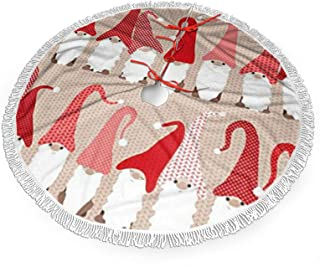 antcreptson Holiday Greeting Gnome Friends Christmas Tree Skirt for Xmas Decoration 36 inch