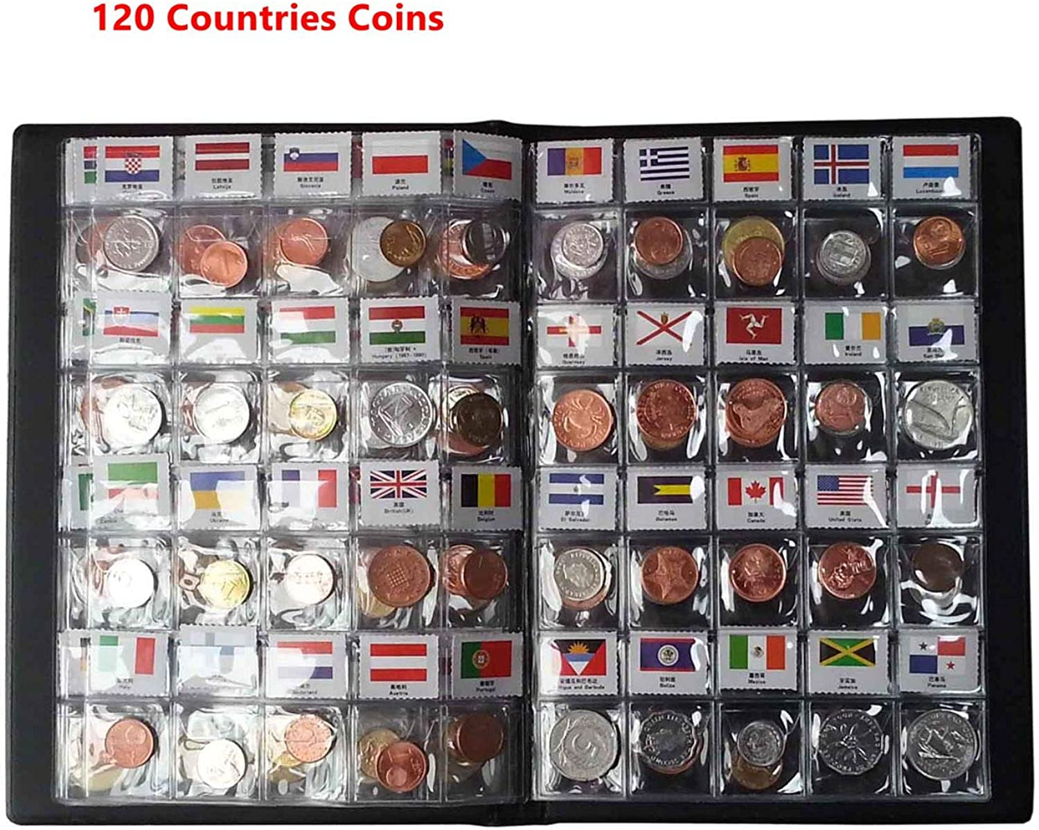 Coin Collection Starter Kit 120 Countries Coins  100% Original Genuine World Coin with Leather Collecting Album Taged by Country Name and Flags Coin Holder Collection Storage Classic Gifts