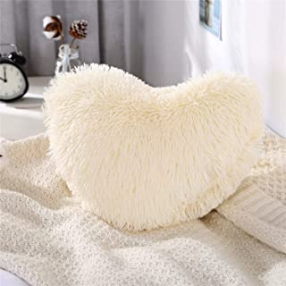MooWoo Fluffy Heart Pillow, Shaggy Plush Faux Fur and Sherpa, Cute Soft Throw Cushion, Decorative for Home Bed Couch - Creamy White, Heart Shaped
