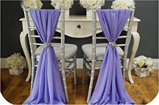 koweis Quality Chiffon Chiavari Chair Sashes Cover Hoods for Weddings Events Banquet Party Decoration Fancy Chiffon Sash Tie,Purple