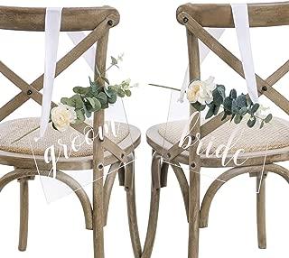 Ling's moment Handmade Acrylic Wedding Chair Signs,Bride and Groom Chair Signs,Wedding Chair Decorations with Eucalyptus