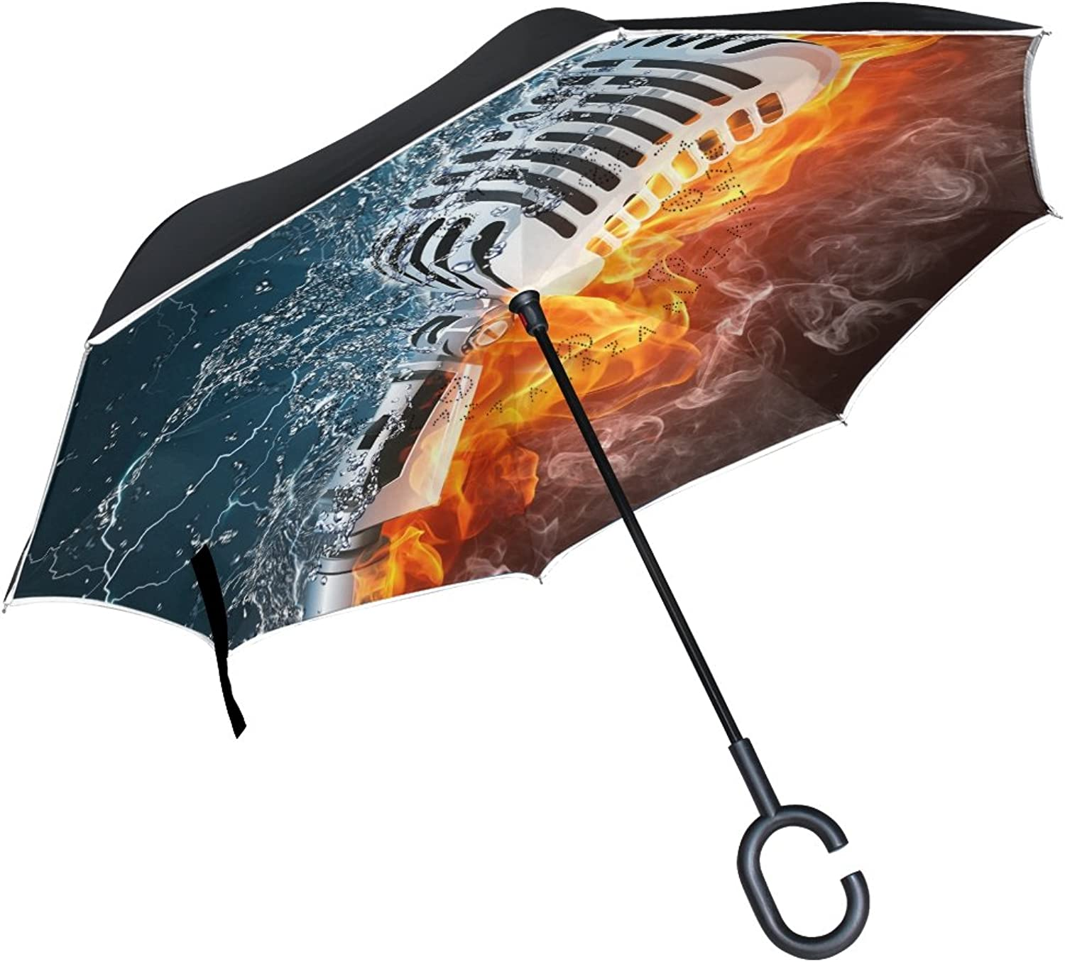 FOLPPLY Ingreened Umbrella Fire and Water Microphone Musical,Double Layer Reverse Umbrella Waterproof for Car Rain Outdoor with CShaped Handle