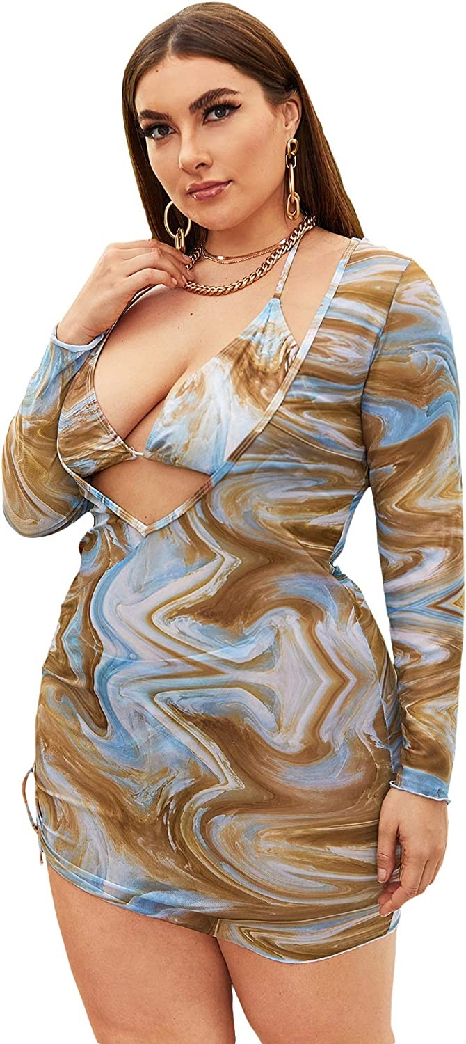 SOLY HUX Women's Plus Size Printed Halter Bikini Bathing Suit with Cover Up 3 Piece Swimsuits