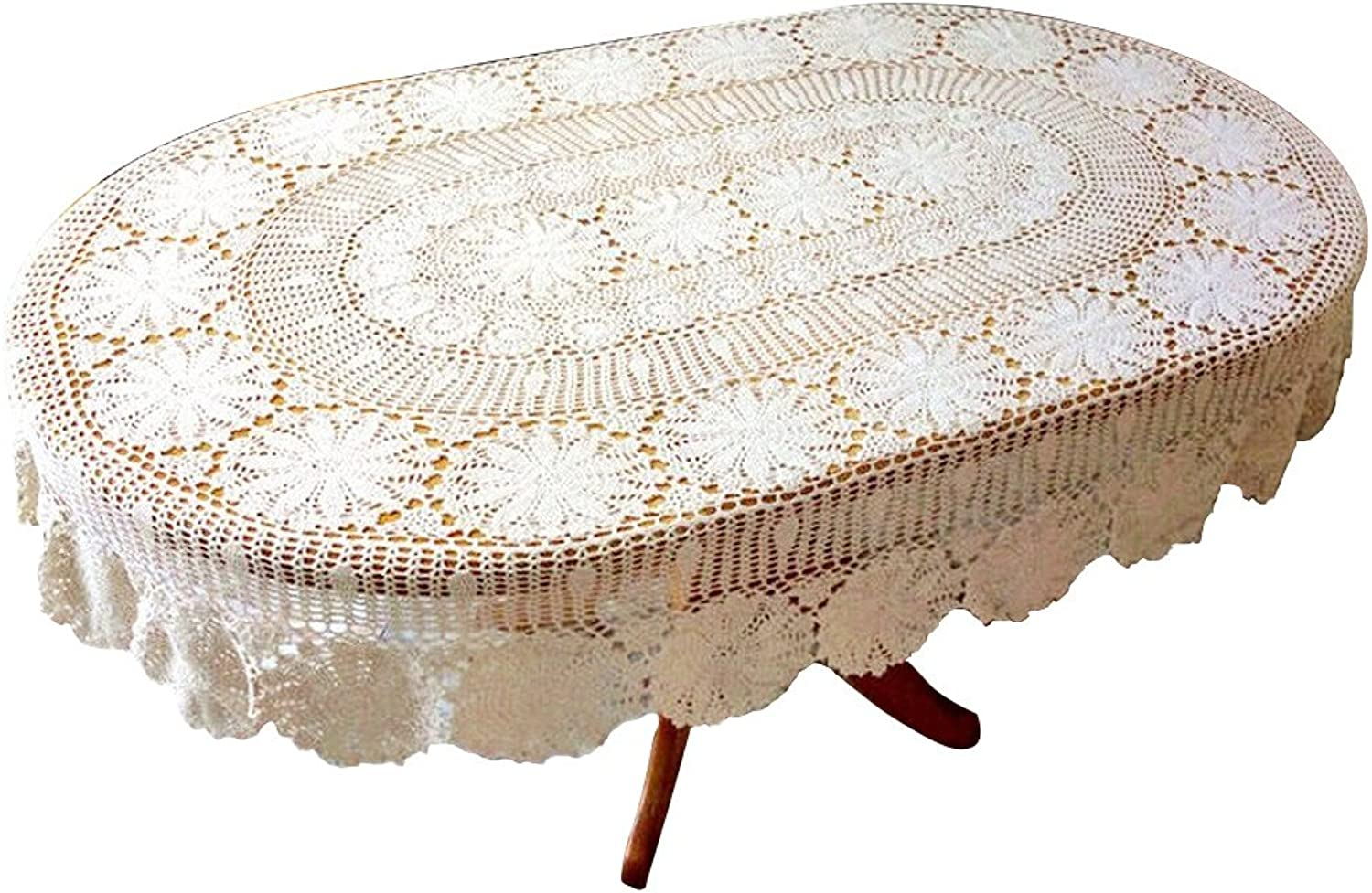 USTIDE Vintage Handmade Crochet Oval Tablecloth White Cotton Lace Table Overlays Elegant Wedding Party Table Decorations, 59 x82.6