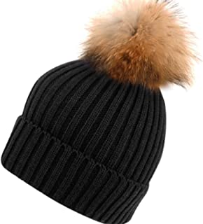 BN2356 Solid Cable Knit Real Raccoon Fur Pom Pom Skull Cap Hat Beanie