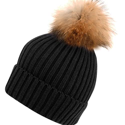 70df549be43 Womens Girls Knitted Fur Hat Real Large Raccoon Fur Pom Pom Beanie Hats