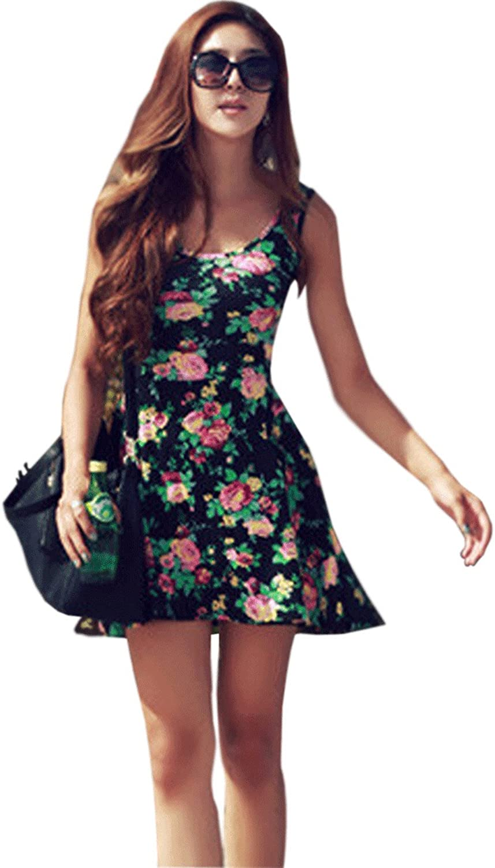 Unomatch Women's Floral Printed Sleevless Short Length Dress Multi Shades