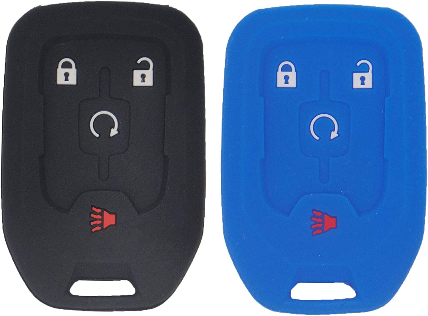13584512 fit with HYQ1AA 22984995,Black Purple LemSa 2Pcs Silicone Key Fob Cover Case Skin Jacket Holder Full Protector Shell for GMC Terrain 2018 2019 2020 13591388