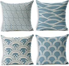 WOMHOPE 4 Pcs - 18 Blue Ocean Waves Printing Cotton Linen Throw Covers Throw Covers Square Throw Pillow Covers Cushion Cover Pillowcase for Couch (H)