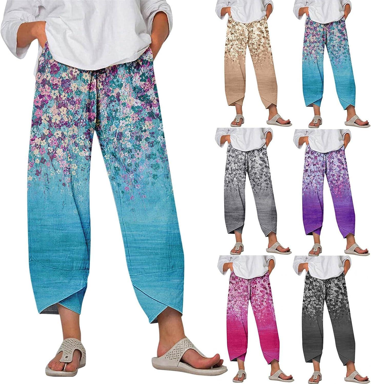 Lovor Women Plus Size Wide Leg Capri Pants Summer Casual Linen Palazzo Yoga Floral Print Fitness Capri Crop Pants with Pocket