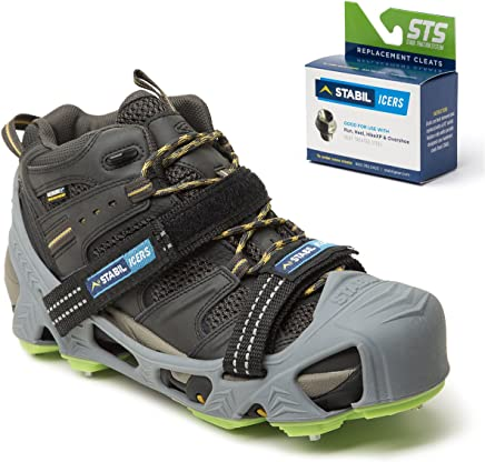 STABILicers Hike XP, High Performance Snow and Ice Traction Cleats for Shoes and Boots, Made in USA, Gray/Green