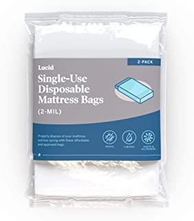 LUCID 2-Pack Mattress Bags for Moving, Storage, or Disposal-2 Mil Plastic Mattress Bag- Single Use Disposable Bags