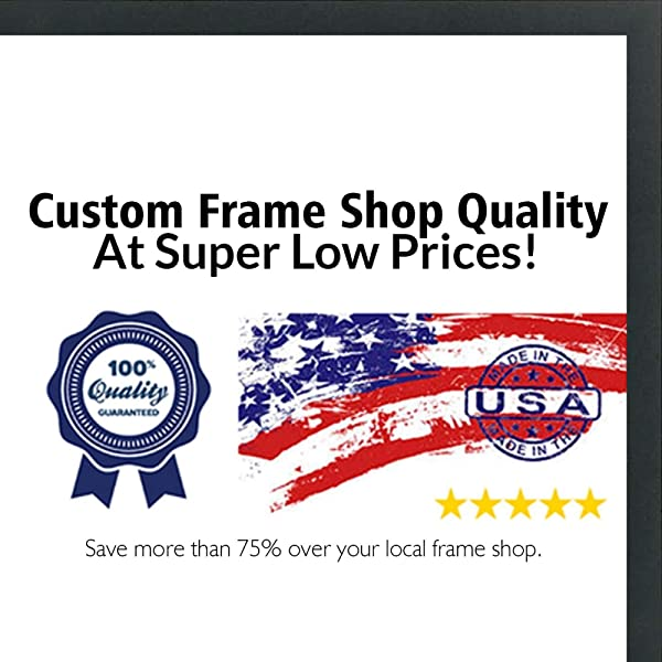Poster Palooza 18x18 Contemporary Black Wood Picture Square Frame UV Acrylic Foam Board Backing Hanging Hardware Included