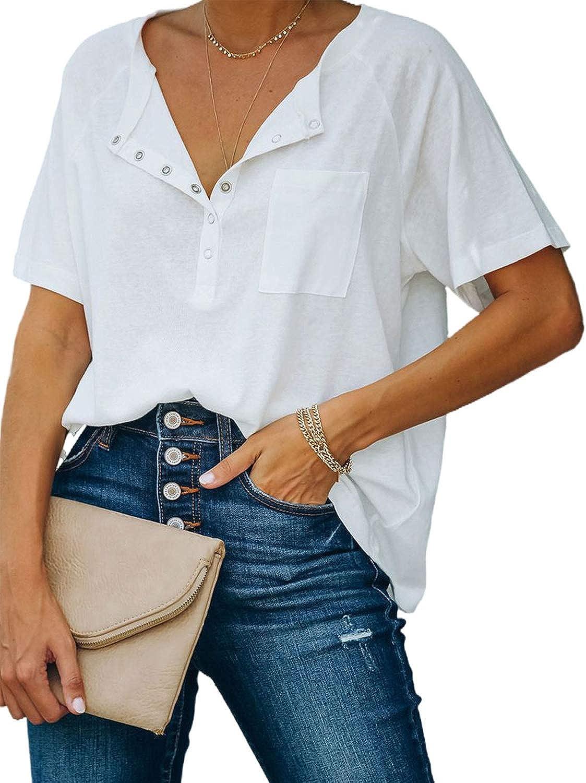 luvamia Women Casual Short Sleeve Henley Shirt Summer Basic Button Up Top Blouse