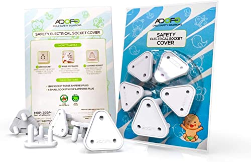 Adofo Child Proofing Electrical Socket Cover Guards (White) (Pack of 5)