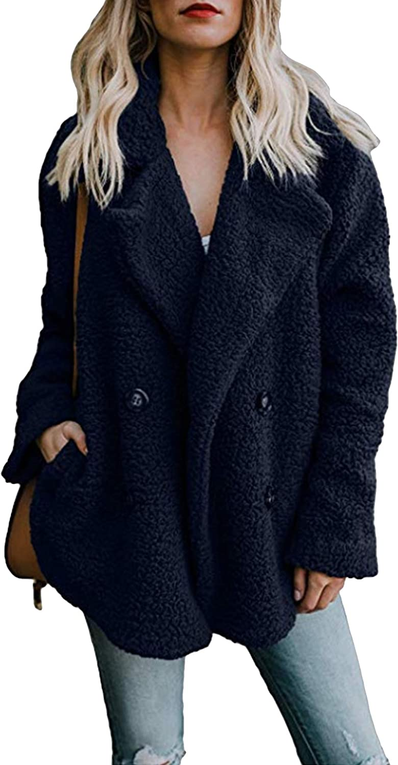 ZICUE Womens Lapel Double Breasted Faux Teddy Coat Open Front Fleece Jacket Sherpa Coats with Pockets